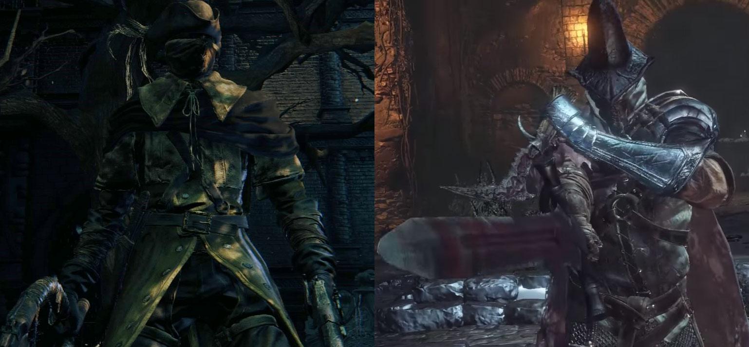 Vasemmalla metsästäjä, oikealla Abyss Watcher.